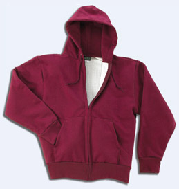 Thermal lined. Heavy plastic molded zipper. Set-in sleeves. Muff pockets.  S 83b5454c516